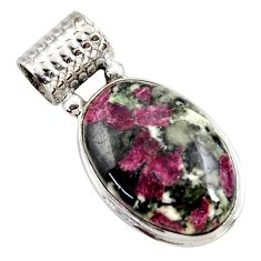 925 sterling silver 17.57cts natural pink eudialyte oval pendant jewelry r27753