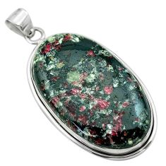 925 sterling silver 40.54cts natural pink eudialyte oval pendant jewelry t53800