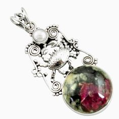 Clearance Sale- 925 sterling silver 19.00cts natural pink eudialyte pearl crab pendant d44630