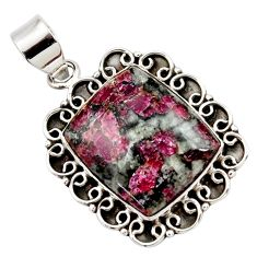 925 sterling silver 16.67cts natural pink eudialyte pendant jewelry r27969