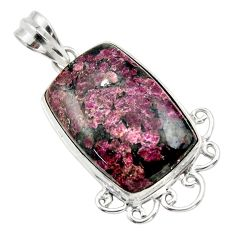 925 sterling silver 24.38cts natural pink eudialyte pendant jewelry r32147