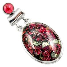 925 sterling silver 24.76cts natural pink eudialyte red garnet pendant r32144