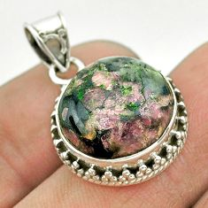 925 sterling silver 11.23cts natural pink eudialyte round pendant jewelry t53192