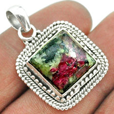 925 sterling silver 9.98cts natural pink eudialyte square pendant jewelry t55997