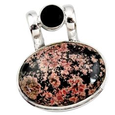 925 sterling silver 18.70cts natural pink firework obsidian onyx pendant r27872
