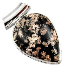 925 sterling silver 18.70cts natural pink firework obsidian pear pendant r27876