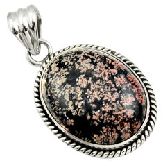 925 sterling silver 18.94cts natural pink firework obsidian pendant r32234