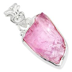 925 sterling silver 13.15cts natural pink kunzite raw fancy pendant r80664