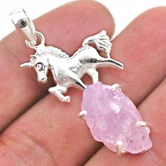 925 sterling silver 16.46cts natural pink kunzite raw horse pendant t48412