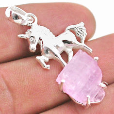 925 sterling silver 16.92cts natural pink kunzite raw horse pendant t48416