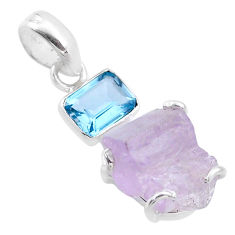 925 sterling silver 13.70cts natural pink kunzite raw topaz pendant t48028
