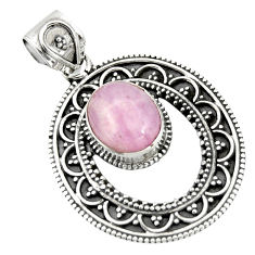 925 sterling silver 5.68cts natural pink kunzite round pendant jewelry r20292