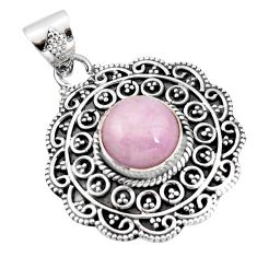 925 sterling silver 5.18cts natural pink kunzite round pendant jewelry r20300