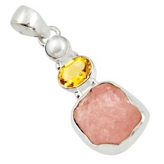 Clearance Sale- 925 sterling silver 11.57cts natural pink morganite rough citrine pendant d39184