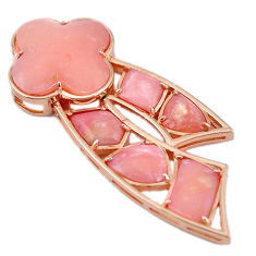 925 sterling silver natural pink opal 14k rose gold pendant a59145 c13970