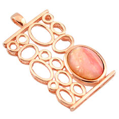 925 sterling silver natural pink opal 14k rose gold pendant a68352 c14055