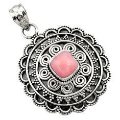 Clearance Sale- 925 sterling silver 3.07cts natural pink opal cushion pendant jewelry d45064