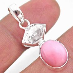 925 sterling silver 9.25cts natural pink opal herkimer diamond pendant t49083