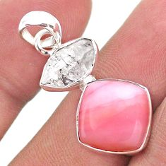925 sterling silver 9.77cts natural pink opal herkimer diamond pendant t49090