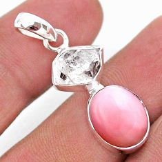 925 sterling silver 9.25cts natural pink opal herkimer diamond pendant t49093