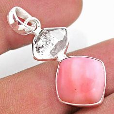925 sterling silver 9.77cts natural pink opal herkimer diamond pendant t49096