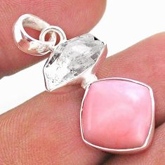 925 sterling silver 10.28cts natural pink opal herkimer diamond pendant t49100
