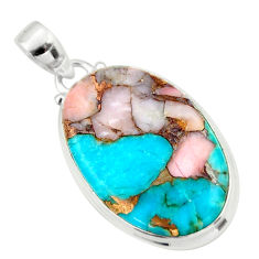 925 sterling silver 19.23cts natural pink opal in turquoise oval pendant r33810