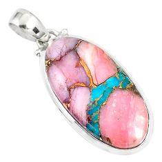 925 sterling silver 15.65cts natural pink opal in turquoise oval pendant r81275