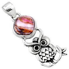 925 sterling silver 5.36cts natural pink opal in turquoise owl pendant r52908