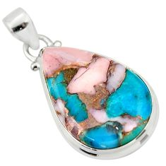 925 sterling silver 16.20cts natural pink opal in turquoise pear pendant r33789