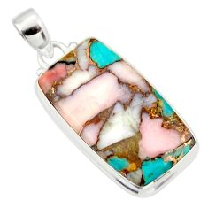 925 sterling silver 18.70cts natural pink opal in turquoise pendant r33768