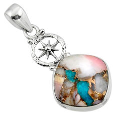 925 sterling silver 12.93cts natural pink opal in turquoise pendant r47852