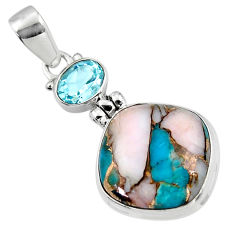 925 sterling silver 15.18cts natural pink opal in turquoise topaz pendant r47847