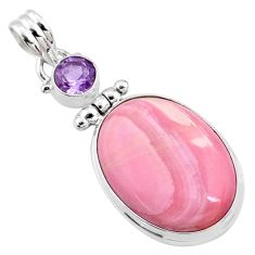 925 sterling silver 15.65cts natural pink opal oval amethyst pendant r66223