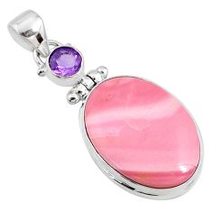 925 sterling silver 16.20cts natural pink opal oval amethyst pendant r66228
