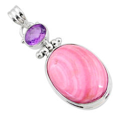 925 sterling silver 16.23cts natural pink opal oval amethyst pendant r66240