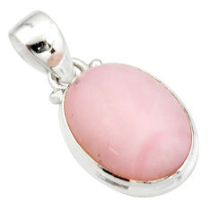 925 sterling silver 12.60cts natural pink opal oval pendant jewelry r20879