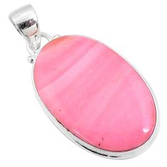 925 sterling silver 14.12cts natural pink opal oval pendant jewelry r66216