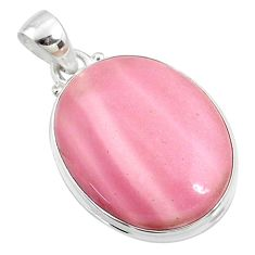 925 sterling silver 14.72cts natural pink opal oval pendant jewelry r66249