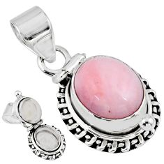 925 sterling silver 5.09cts natural pink opal oval poison box pendant r55584