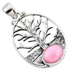 925 sterling silver 4.40cts natural pink opal oval tree of life pendant r53005