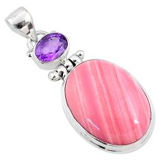 925 sterling silver 16.57cts natural pink opal purple amethyst pendant r66244