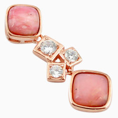925 sterling silver natural pink opal topaz 14k rose gold pendant a68435 c14111