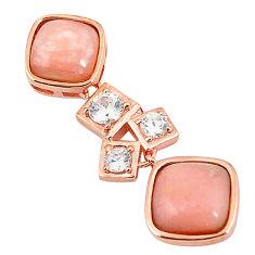 925 sterling silver natural pink opal topaz 14k rose gold pendant a76155 c14102