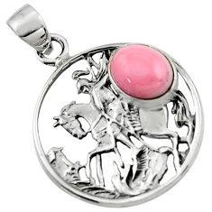 925 sterling silver 4.37cts natural pink opal unicorn pendant jewelry r52749