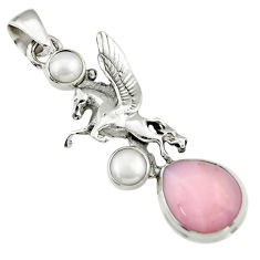 925 sterling silver 6.03cts natural pink opal white pearl unicorn pendant r19089
