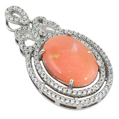 925 sterling silver natural pink opal white topaz pendant jewelry a59150 c14028