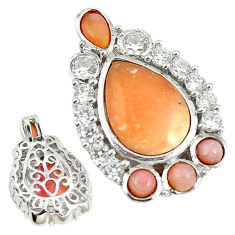 925 sterling silver natural pink opal white topaz pendant jewelry a68318 c14176