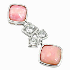 925 sterling silver natural pink opal white topaz pendant jewelry a68454 c14109