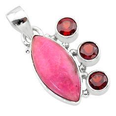 925 sterling silver 13.15cts natural pink petalite red garnet pendant t30407
